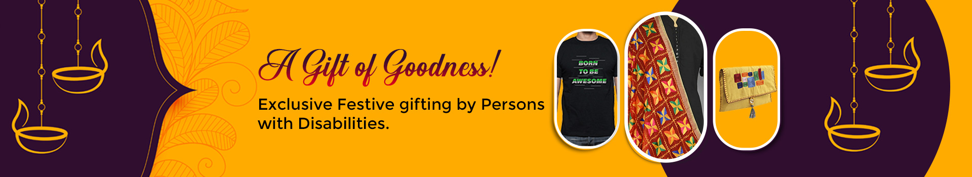 A banner with orange background and images of a black tshirt, a red dupatta, and a yellow clutch, which is the representation of our Online store section.