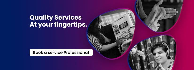 """A clickable banner. The text on it reads, """"Quality Services at your fingertips."""" The banner redirects you to the Service Professionals Page."""