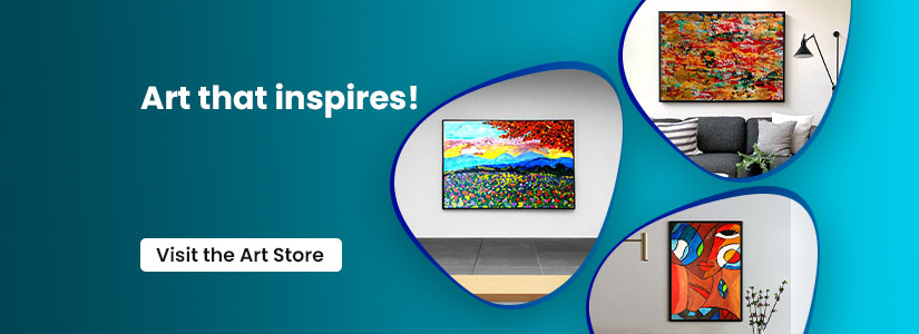 """Text on it reads 'Art that inspires, Visit the Art store"""". The banner redirects you to the atypical art page."""