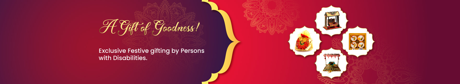 A banner with reddish background and images of Janmashtami Jhula and festive gift hamper, which is the representation of our Online store section.