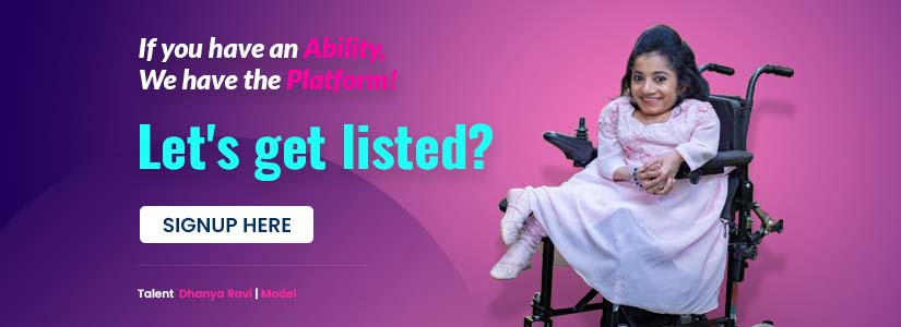 Text on it reads 'If you have an ability, We have the Platform. Let's get listed?'. The banner redirects you to the sign up/get listed page.