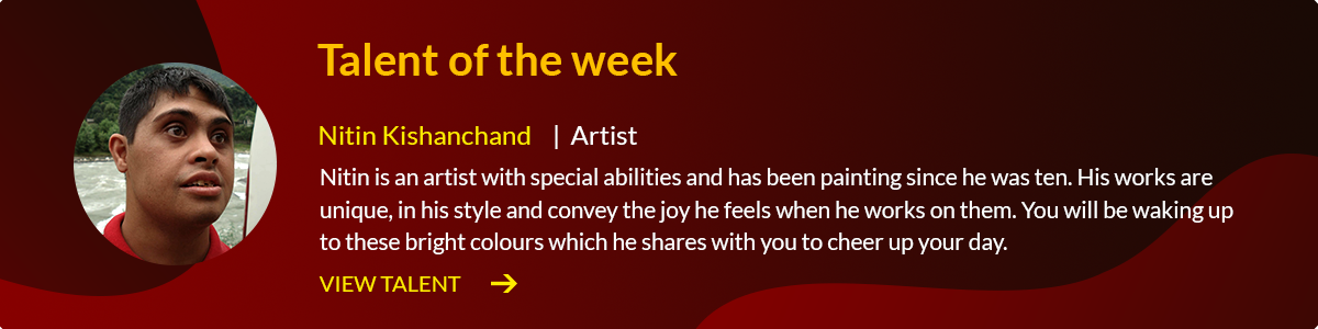 """A clickable banner with red background and Nitin's photo on it. The text reads, 'Nitin Kishanchand