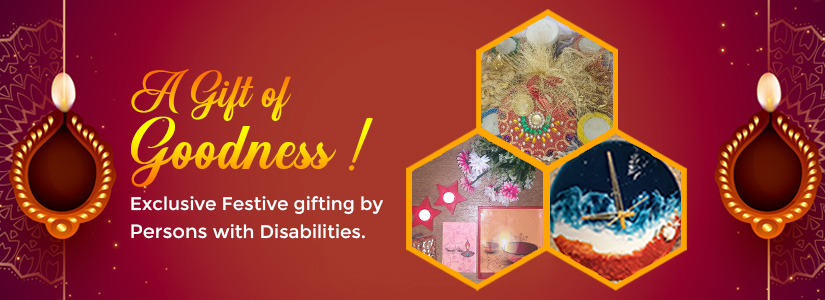 A banner with red background and images of two diwali hampers and a clock, which is the representation of our Online store section.